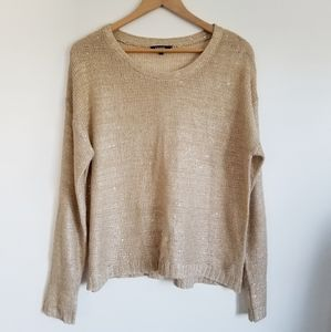 Gold loose knit metallic flecked sweater
